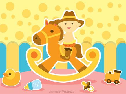 child-on-horse-toy-background