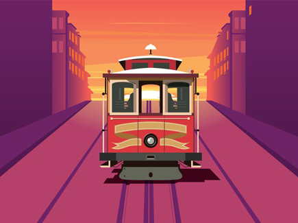 vector-cable-car-sunset-background