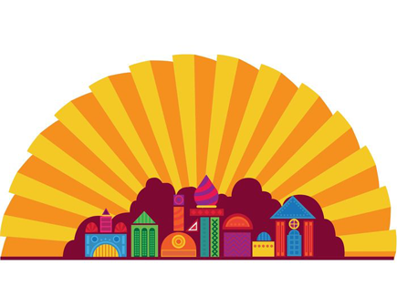 city-and-sunshine-cartoon-background