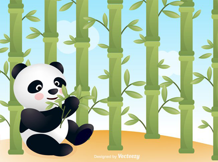 free-panda-with-bamboo-vector-background