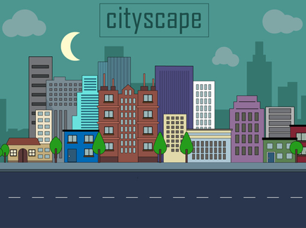 free-urban-landscape-vector-illustration