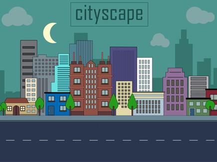 free-urban-landscape-vector-illustration