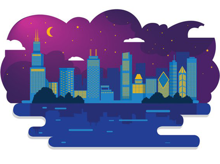 chicago-skyline-night-vector