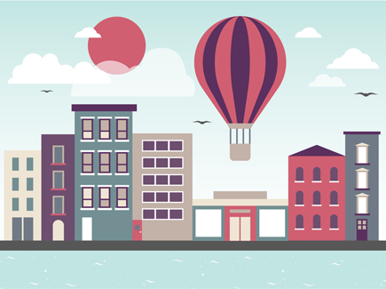 free-flat-cityscape-vector-illustration