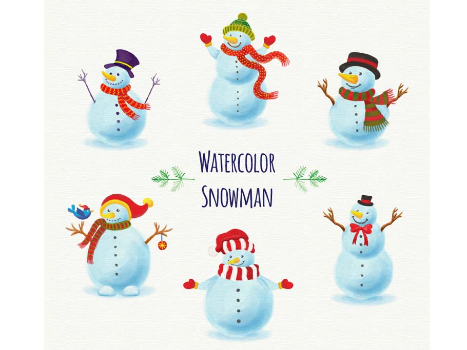 winter-illustrations-snowmen-free-watercolors