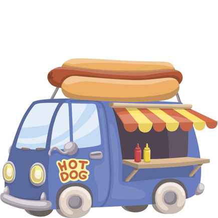 hot-dog-truck vector freebie