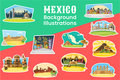 Cartoon Mexico Backgrounds Collection