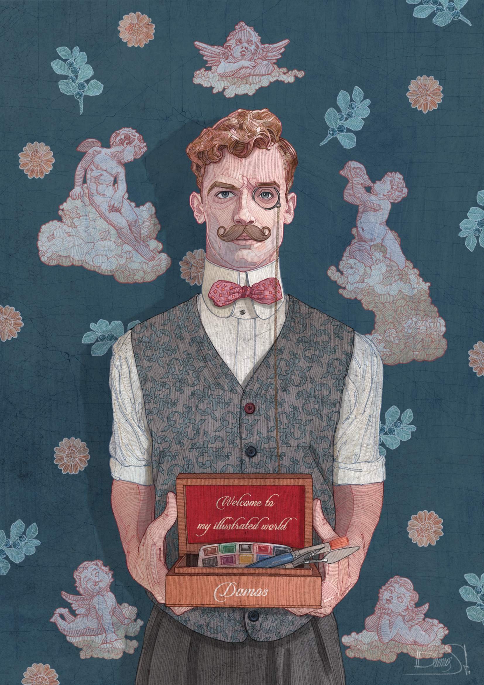 vintage inspired art man character
