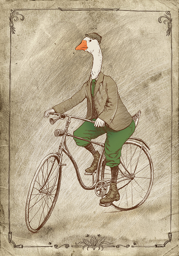 vintage inspired art goose