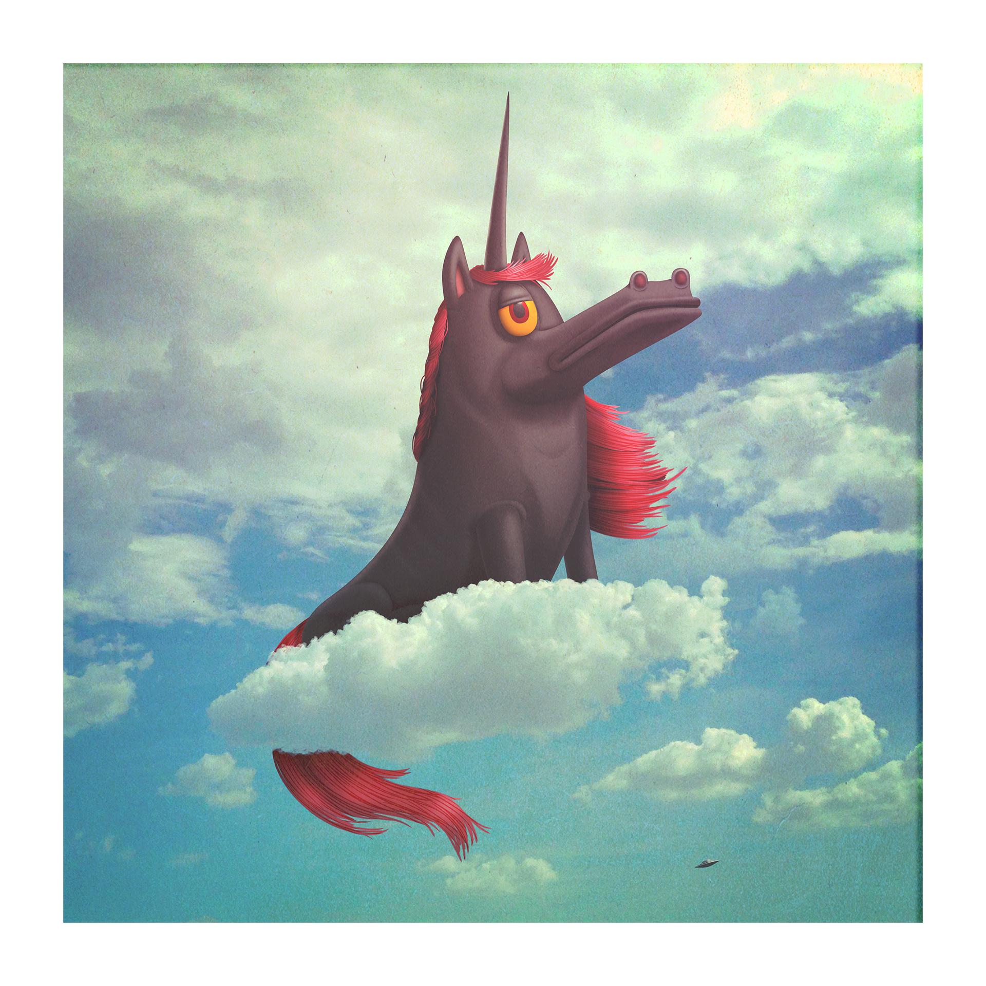 vintage inspired art funny unicorn