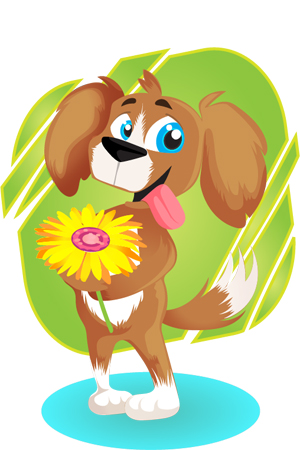 cute-dog-with-flower-vector-freebie