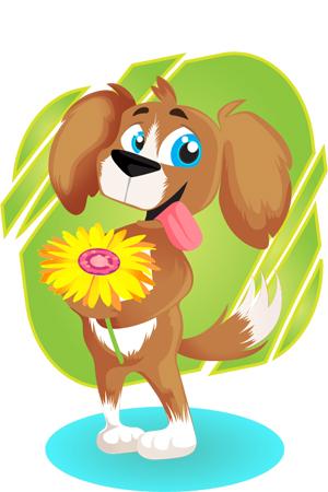 cute-dog-with-flower-vector-freebie