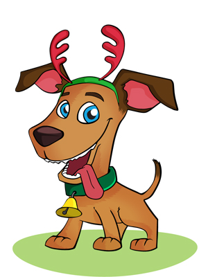 vector-christmas-dog-free-character
