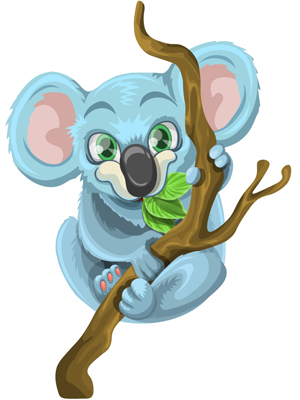 vector-koala-eating-leaves