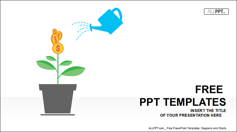 green plant with dollar free powerpoint template