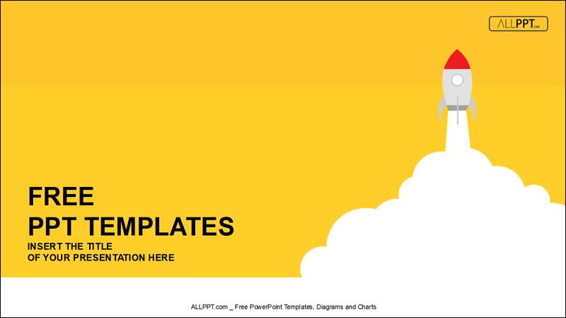 yellow rocket free powerpoint template
