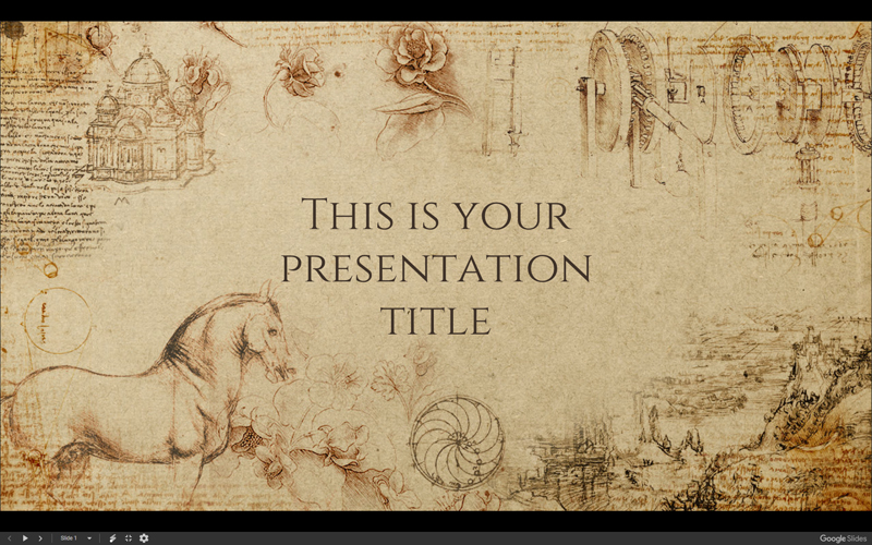 historic design with davincis illustrations 25 slides in 169 screen layout available as google slides and a powerpoint template