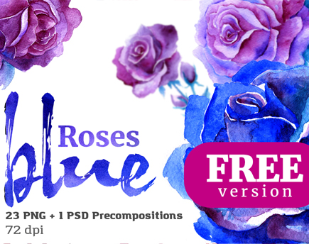 Blue Roses Floral Watercolor Set