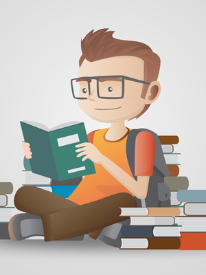 student-reading-among-books