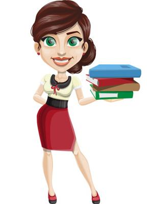vector-woman-teacher-with-books