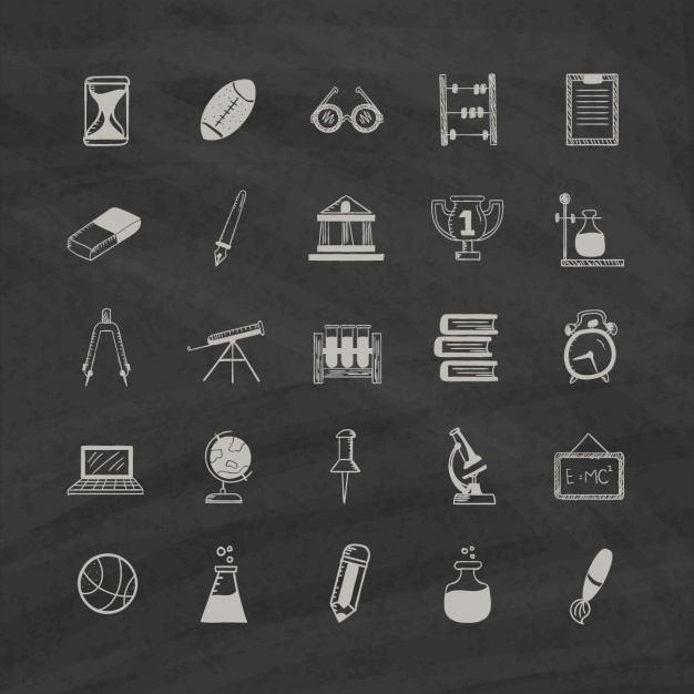 education-icons-on-a-black-background