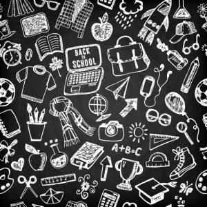 pattern-of-drawings-school-on-blackboard