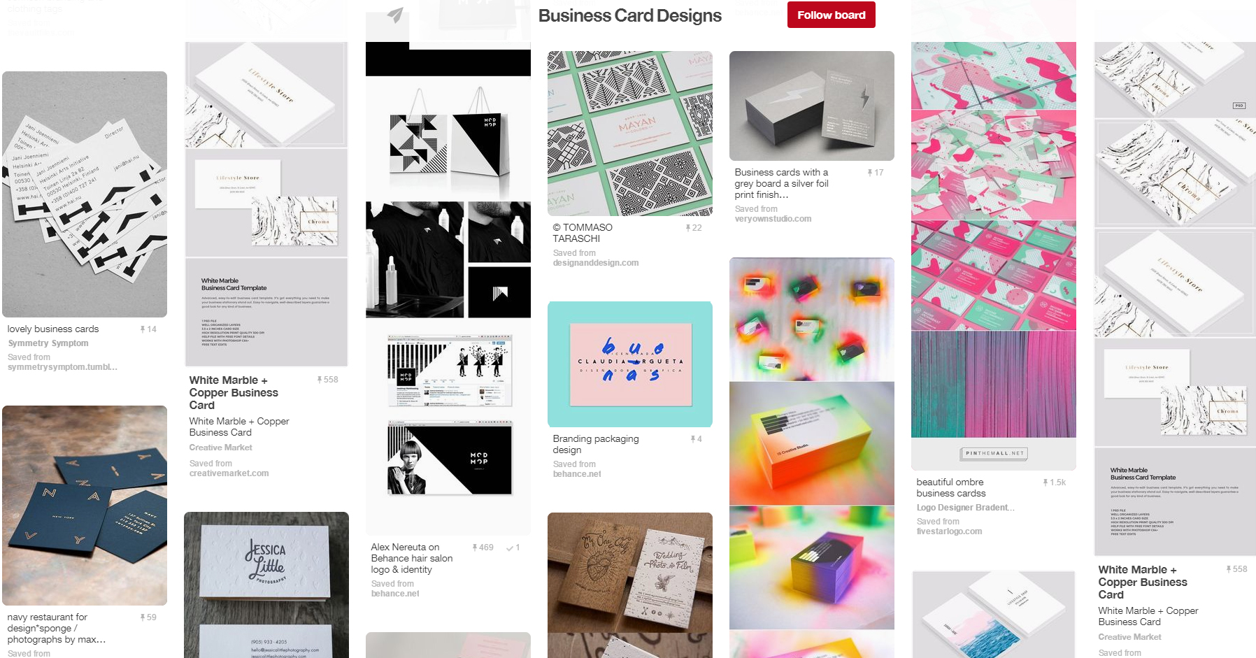 15 inspiring design boards to follow on pinterest graphicmama blog business card designs pinterest board reheart