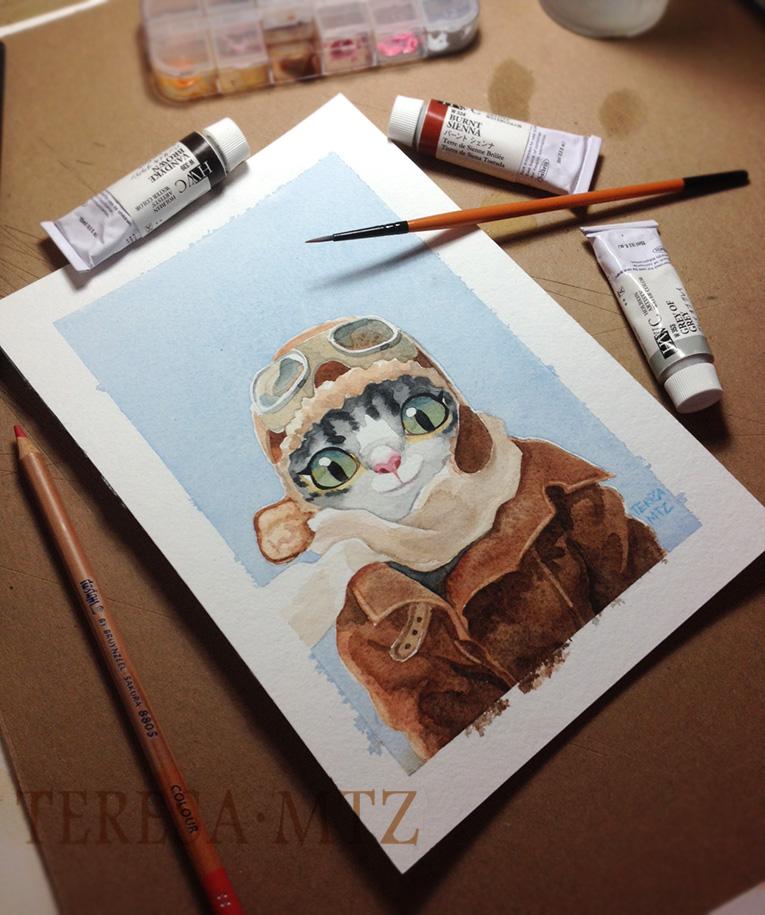 watercolor-cat-aviator