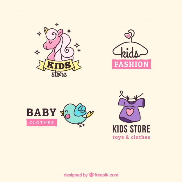 pack-of-four-cute-kids-logos_23-2147598697