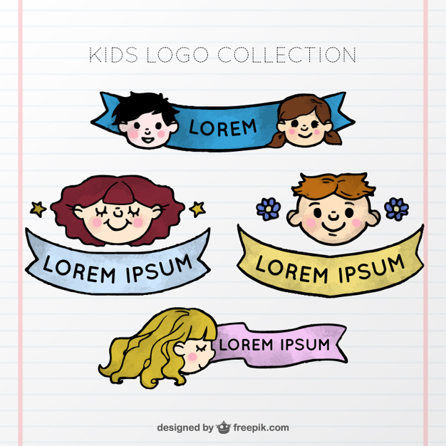 kid-logo-collection-with-ribbon_23-2147585837