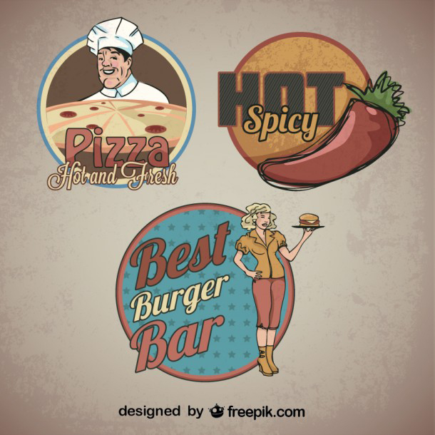 food-sticker-retro-logo-templates