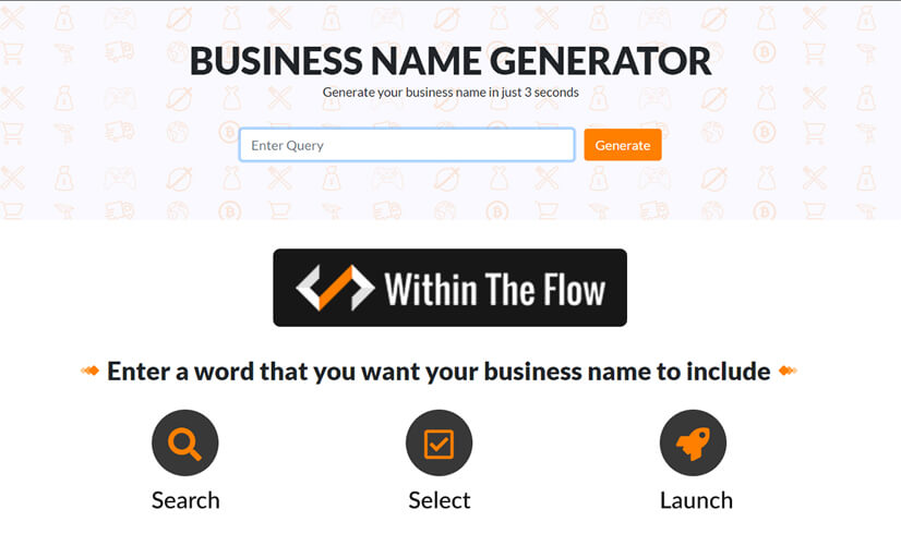 Free Business Name Generator by WithinTheFlow