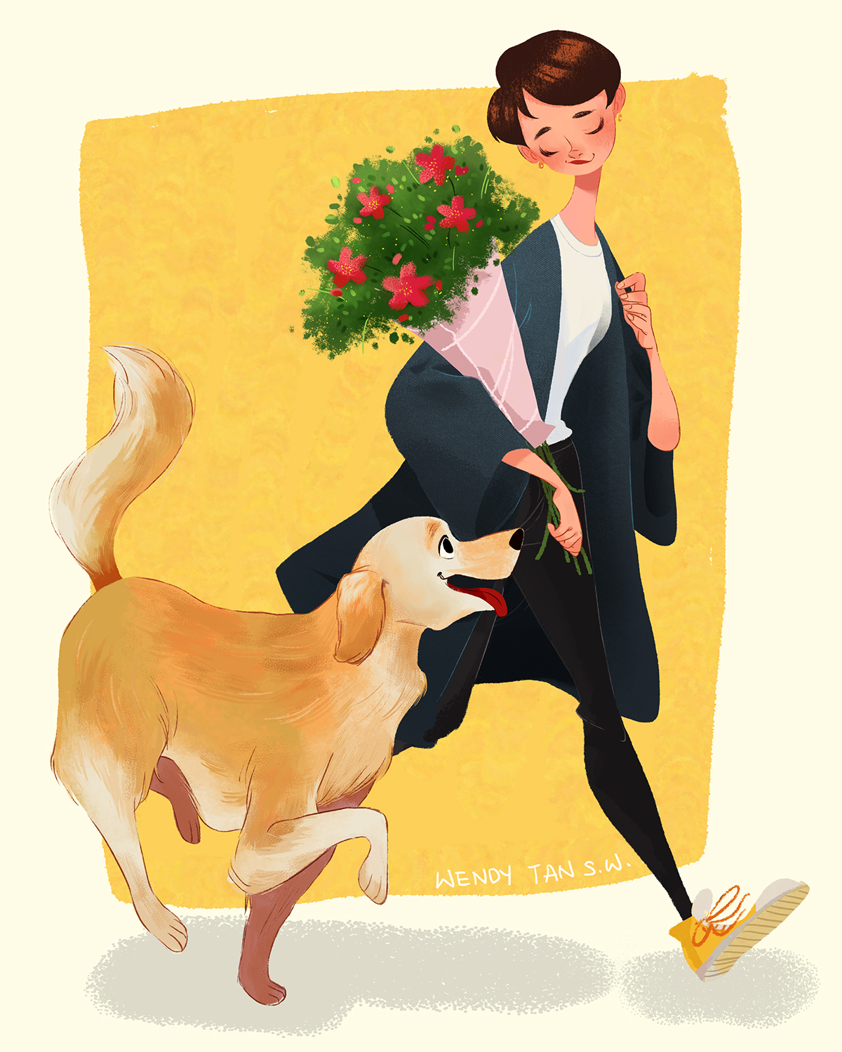 dog and a girl illustration