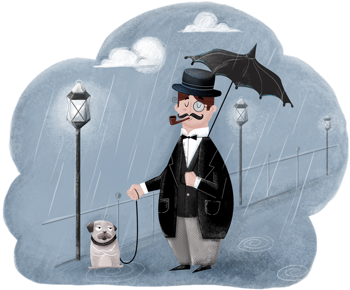 dog-and-owner-under-rain-illustration