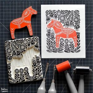 Types of Illustration – Styles and Techniques: Woodcut illustration with horse
