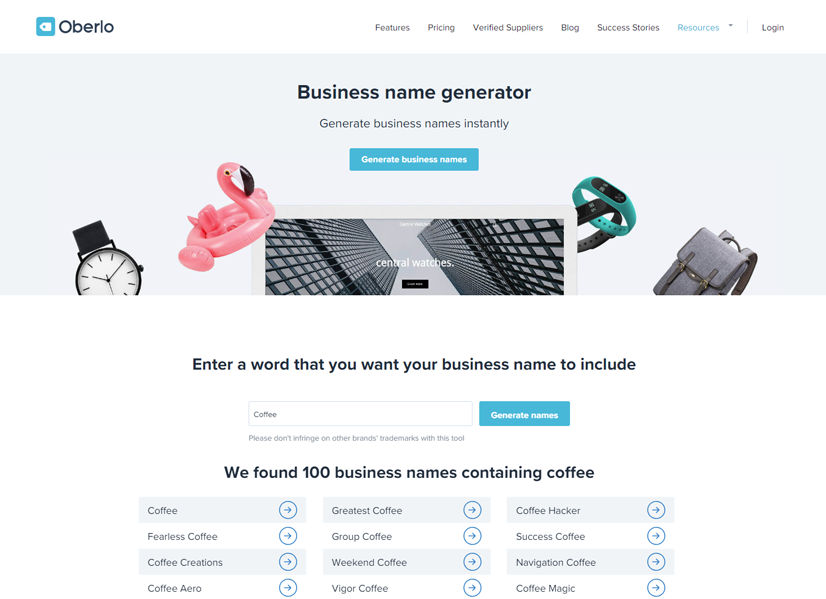 oberlo business name generator