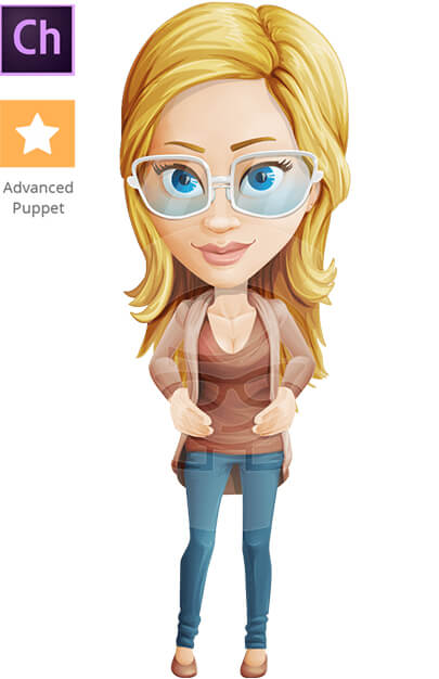 Blonde Casual Girl Character Animator Puppet with Walking Feature