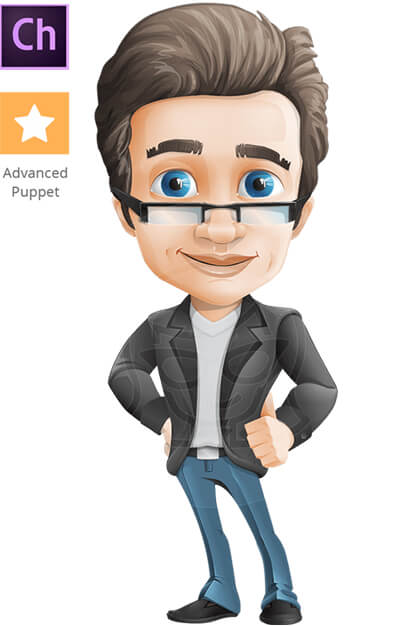 Smart Businessman Character Animator Puppet with Walking Feature