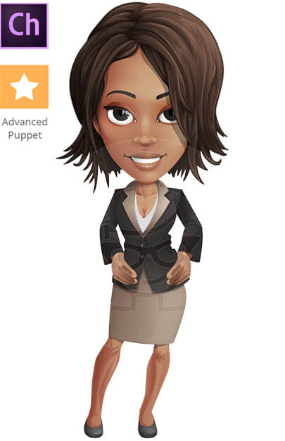 African-Amerian BusinessWoman Character Animator Puppet with Walking Feature