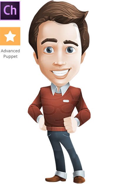 Young Businessman Character Animator Puppet with Walking Feature