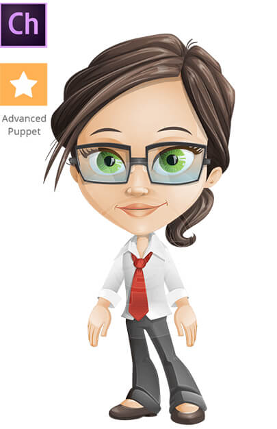 Cute Student Girl Character Animator Puppet with Walking Feature