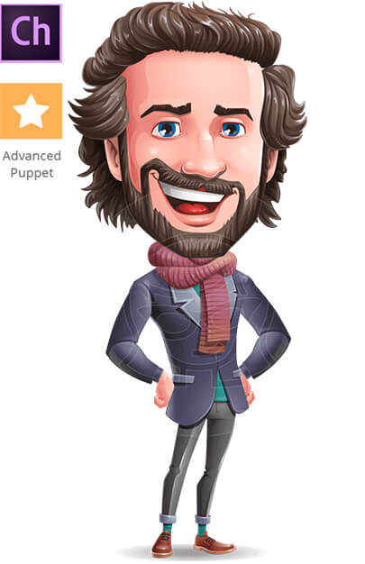 Stylish Man Character Animator Puppet with Walking Feature
