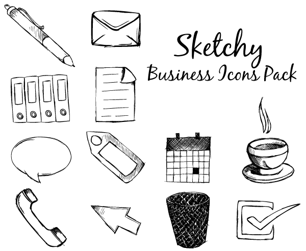 sketchy-business-icons-free-vector-pack