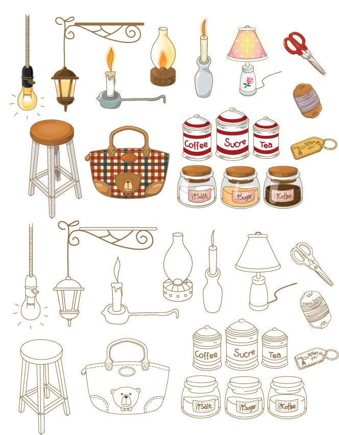 Hand painted household goods icon vector