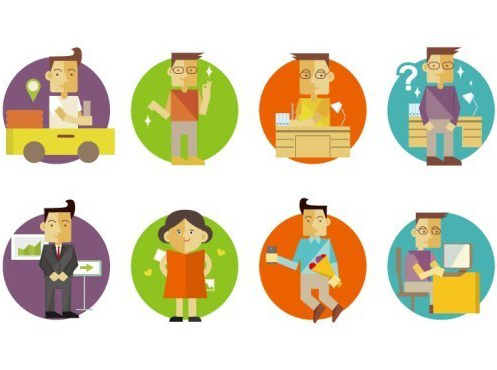 Flat-Cartoon-Business-Man-Woman-Icons-Vector1