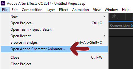 How to open Character Animator from After Effects