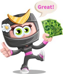 GraphicMama's cartoon character with money