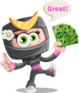 GraphicMama's cartoon character with money
