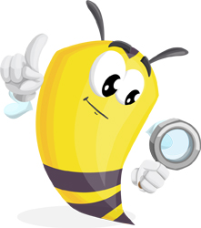 bee cartoon character with magnifier GraphicMama