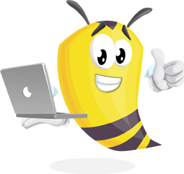 bee cartoon character with a laptop by GraphicMama